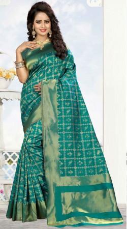Self Weaving Work Rama Green Kanjivaram Silk Saree