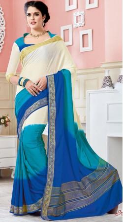 Self Weaving Work White And Blue Crepe Silk Saree AK253277