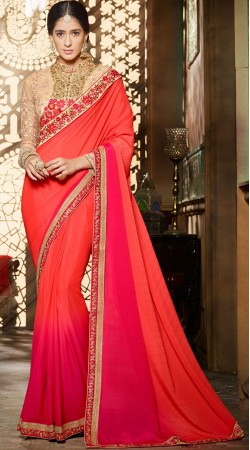 Shaded Chinon Saree With Designer Blouse