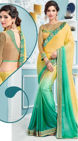 Shaded Soft Silk Saree With Jeweled Neck Blouse