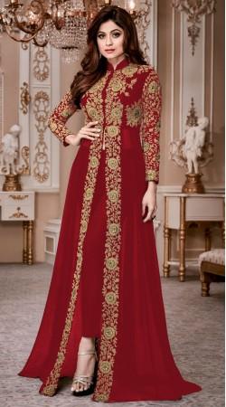 Shamita Shetty Red Capri Trouser Suit