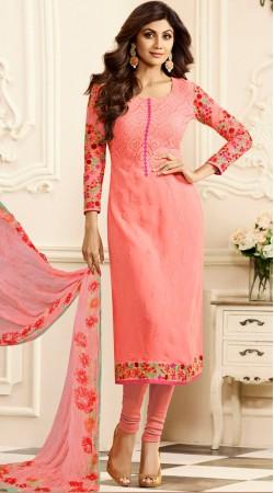 Shilpa Shetty Dark Salmon Churidar Suit With Dupatta