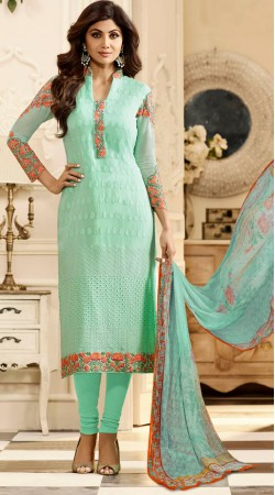 Shilpa Shetty Sea Green Churidar Salwar Kameez