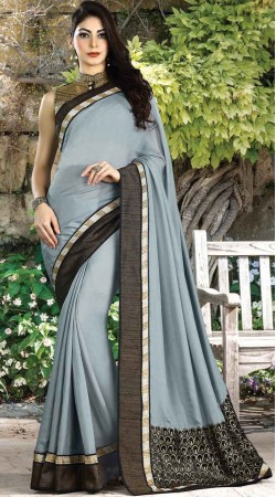 Silver Shimmer Border Saree With Embroidery Work Blouse