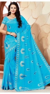 Sky Blue Cotton Saree With Embroidery Work