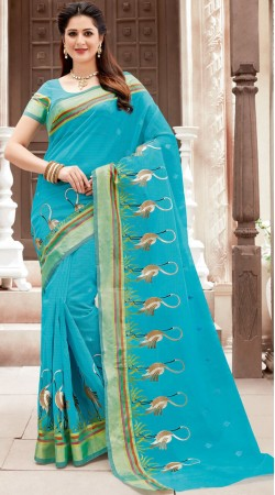 Sky Blue Flamingo Work Border Saree