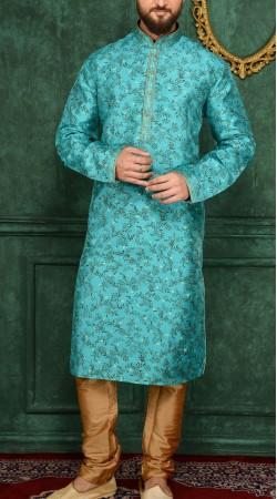 Sky Blue Jacquard Party Wear Men Kurta Pajama