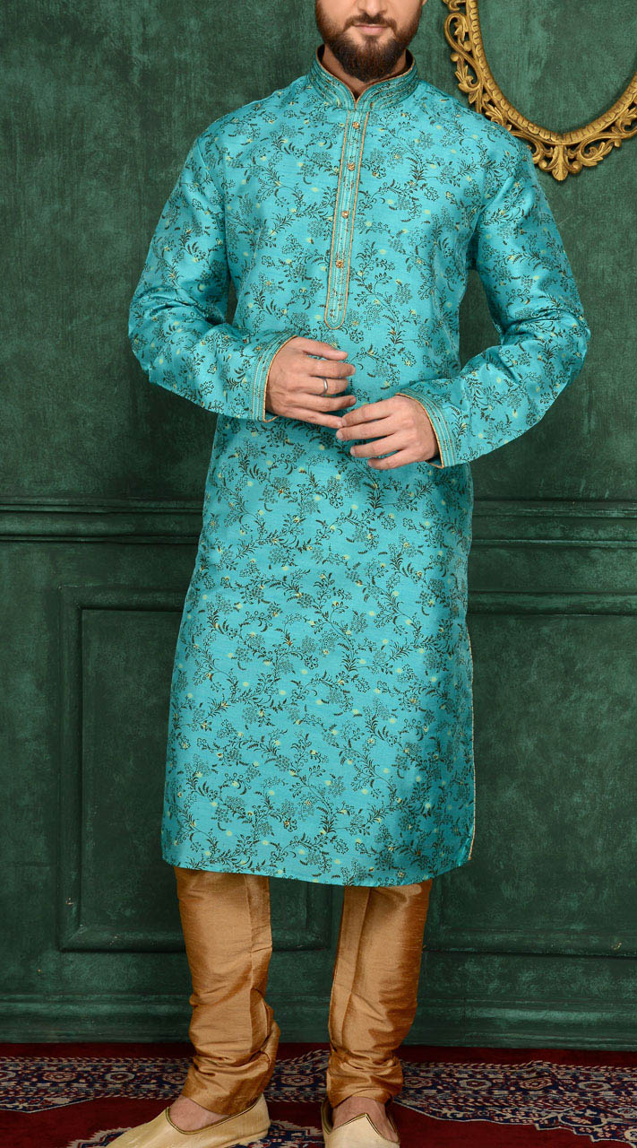 Sky Blue Jacquard Party Wear Men Kurta Pajama TK6641736