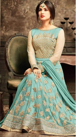Sky Blue Net Party Wear Anarkali Suit