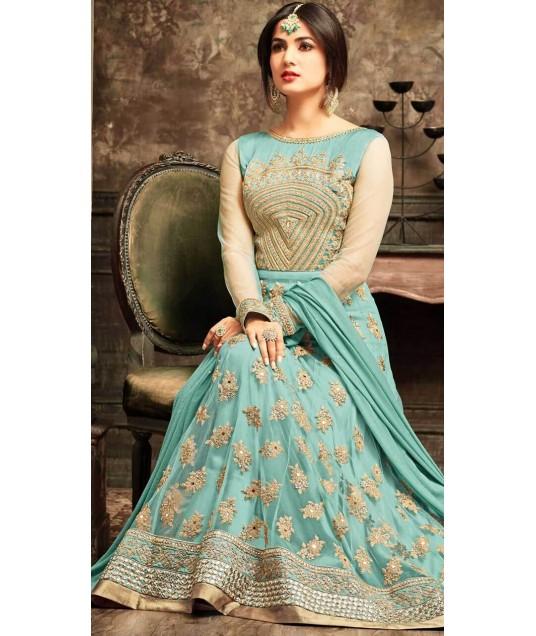 Sky Blue Net Party Wear Anarkali Suit