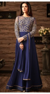 Sonal Chauhan Blue Gown Style Suit
