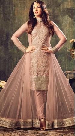 Sonal Chauhan Dusty Peach Net Designer Salwar Kameez 3YS470474