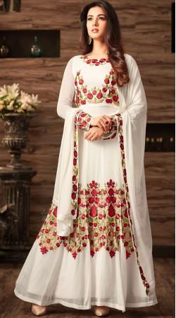 Sonal Chauhan Floral Work White Anarkali Salwar Kameez