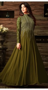Sonal Chauhan Mehendi Green Party Wear Anarkali Suit