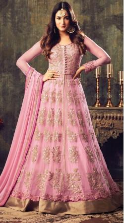 Sonal Chauhan Pink Net Designer Salwar Kameez 3YS470874