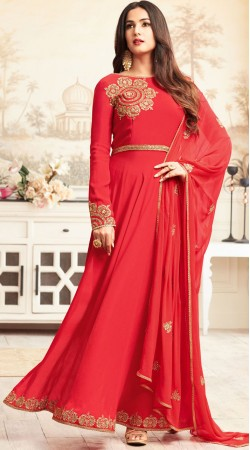 Sonal Chauhan Red Front Cut Kameez With Straight Fit Pant 3YS460173