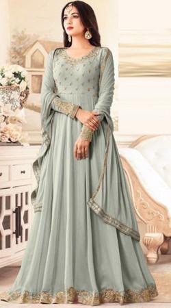 Sonal Chauhan Silver Floor Length Anarkali