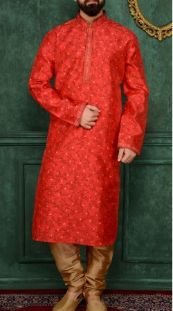 Stunning Red Jacquard Kurta Pajama