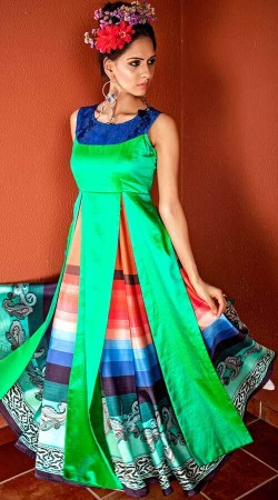 Tapeta Silk Green And Multi Color Indowestern Dress