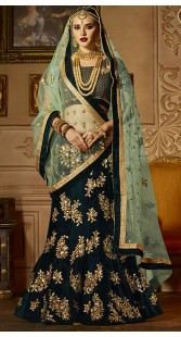 Teal Velvet Wedding Lehenga Choli