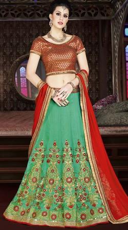 Turquoise Banarasi Silk Lehenga Choli For Wedding
