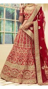 Velvet Satin Red Designer Bridal Lehenga