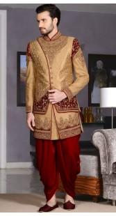 Wedding Wear Banarasi Silk Designer Dhoti Sherwani