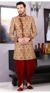 Wedding Wear Golden Jacquard Dhoti Sherwani