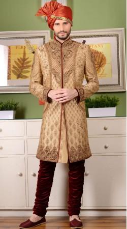 Wedding Wear Golden Jacquard Sherwani