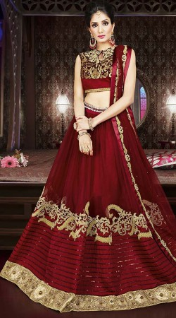 Wedding Wear Maroon Net Designer Lehenga Choli
