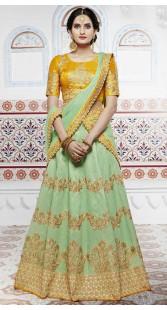 Wedding Wear Pastel Green Handloom Silk Lehenga