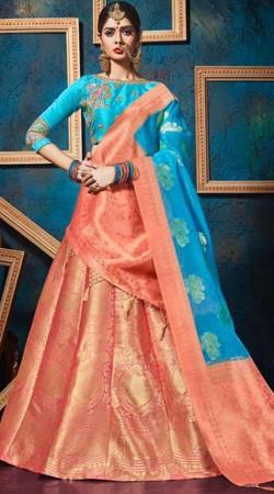 Wedding Wear Peach Jacquard Silk Lehenga Choli