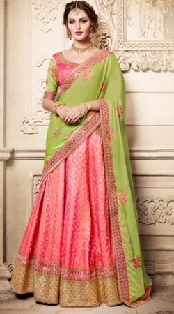 Wedding Wear Pink Silk Lehenga Choli With Green Dupatta