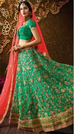 Wedding Wear Rama Green Net Lehenga Choli