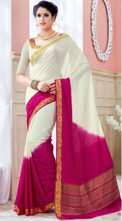 White And Pink Crepe Silk Beautiful Saree AK253077