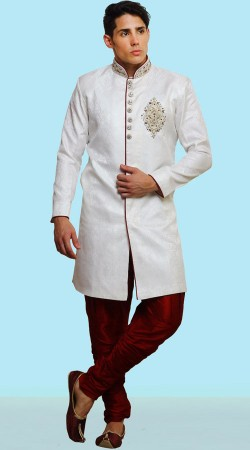 White Banarasi Brocade Wedding Sherwani