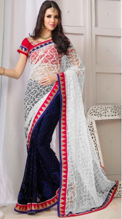 White Net And Dark Blue Brasso Saree With Red Blouse