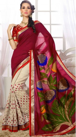 Wine And Off White Party Silk Saree With Dori Blouse