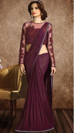 Wine Fancy Knit Cocktail Party Saree With Stylish Blouse