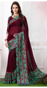 Wine Georgette Saree With Border Print