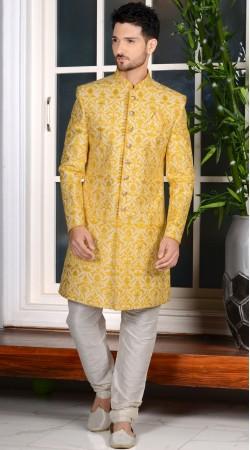 Yellow Banarasi Silk Designer Sherwani