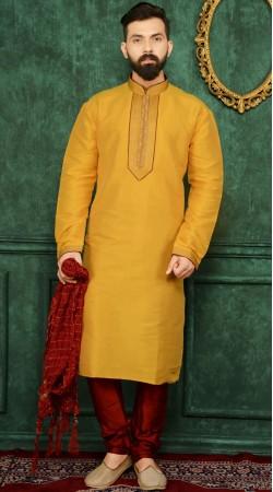 Yellow Banarasi Silk Kurta Pajama