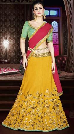 Yellow Silk Wedding Wear Lehenga Choli