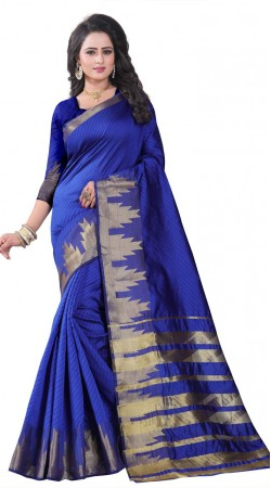 Blue Silk Saree For Party