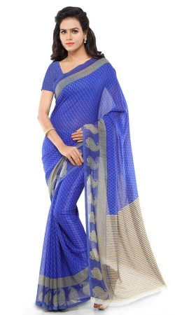 Blue Georgette Saree For Casual Wear