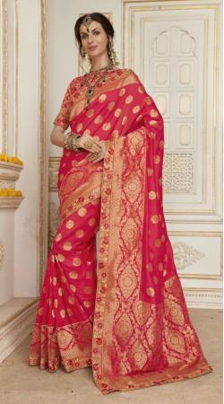 Engagement Pink Banarasi silk Saree