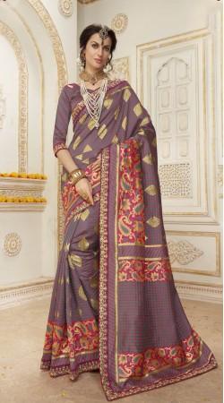 Wedding Grey Banarasi silk Saree
