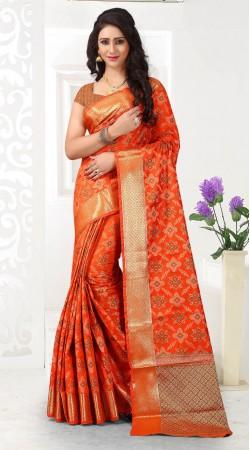 Diwali wear Orange Patola Silk Saree