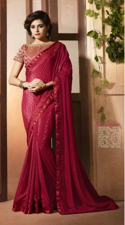 Red Chinon Saree For Casual wear