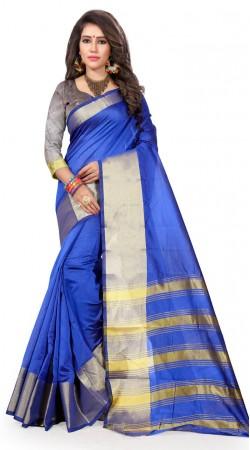 Casual Wear Blue Cotton Silk Saree